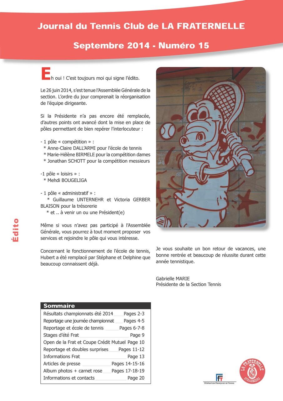 Couverture journal La Fraternelle - Septembre 2014 (numéro 15)