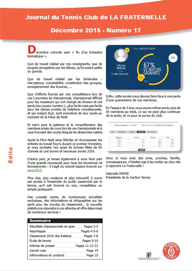 Edito du Journal de La Fraternelle Numero 17 - décembre 2015