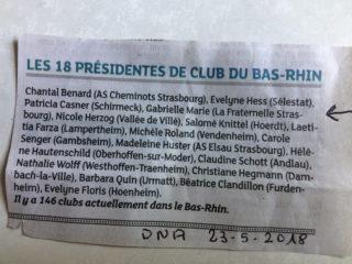 Présidentes des clubs du Bas rhin